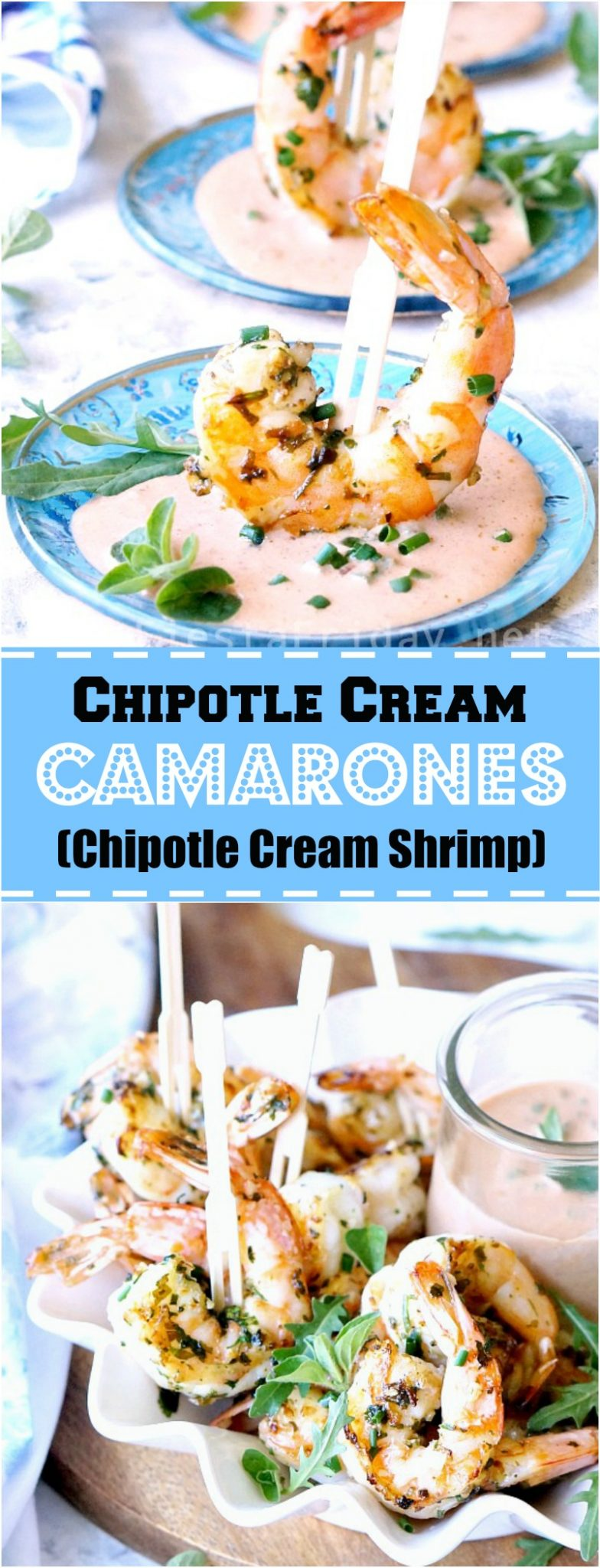 Camarones Chipotle Cream, which translates to Chipotle Cream Shrimp, is an easy yet elegant appetizer for a Cinco de Mayo celebration or any fiesta! #appetizer #camarones #shrimp #Cincodemayo #chipotle | FiestaFriday.net