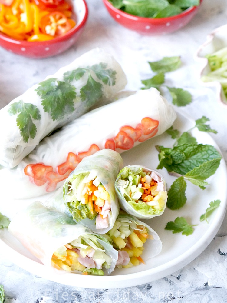 Pineapple Ham Summer Rolls | Fresh, light, and healthy! Perfect little parcels for a great appetizer | FiestaFriday.net