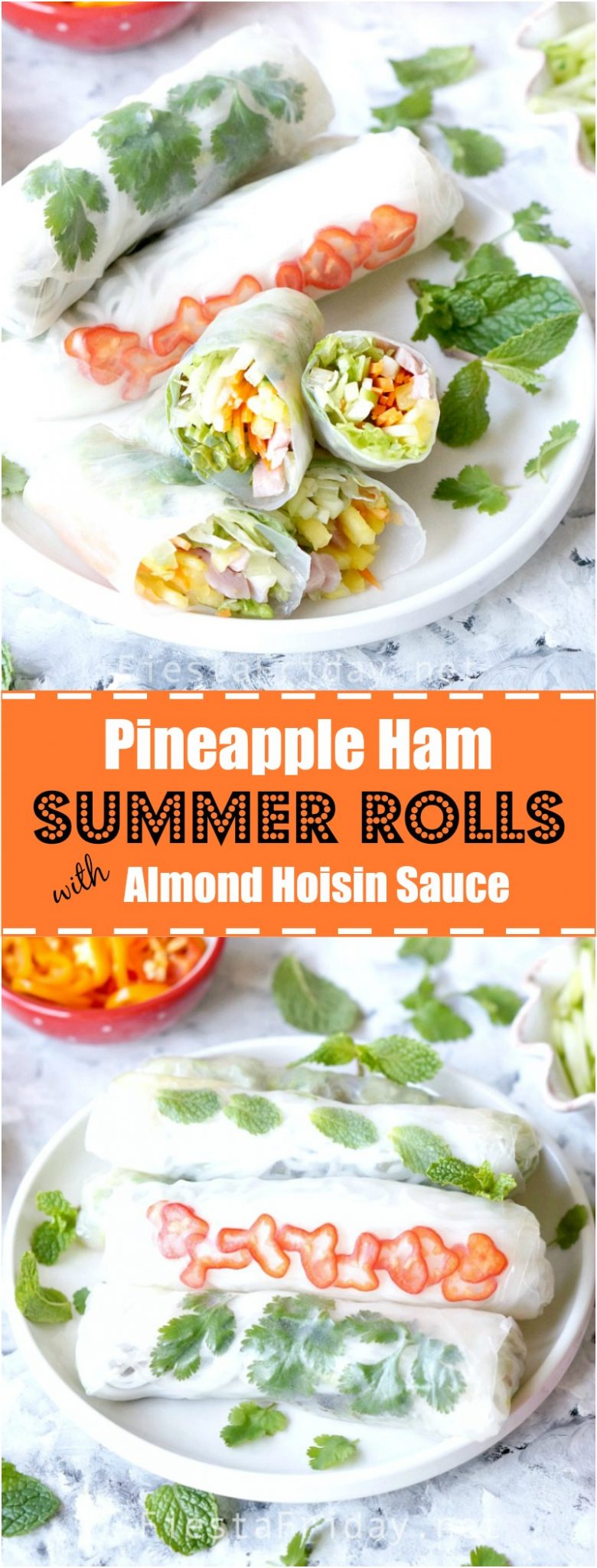 These Summer Rolls are fresh, light and healthy! Filled with pineapple, ham, fresh herbs and vegetables, they're perfect little parcels for dipping in Roasted Almond Hoisin Sauce (recipe included) | FiestaFriday.net #summerrolls #vietnamesefood #hoisinsauce #pineapplerecipe