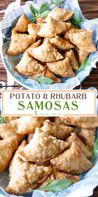 Spectacular Samosas | These are not your usual samosas. Filled with rhubarb and sorrel that lend their tart flavor, along with the more traditional potatoes and peas, they are downright spectacular! #samosas #Indian #appetizer #rhubarb #sorrel #potatoes #fiestafriday