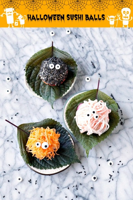 Halloween Monster Sushi Balls... yes, indeed! Move over pumpkins! These sushi balls are so easy and most importantly, fun to make. If you can squeeze rice into balls, you can make Halloween Sushi Balls! | FiestaFriday.net | #halloween #sushi #sushiballs #temarisushi #temarizushi