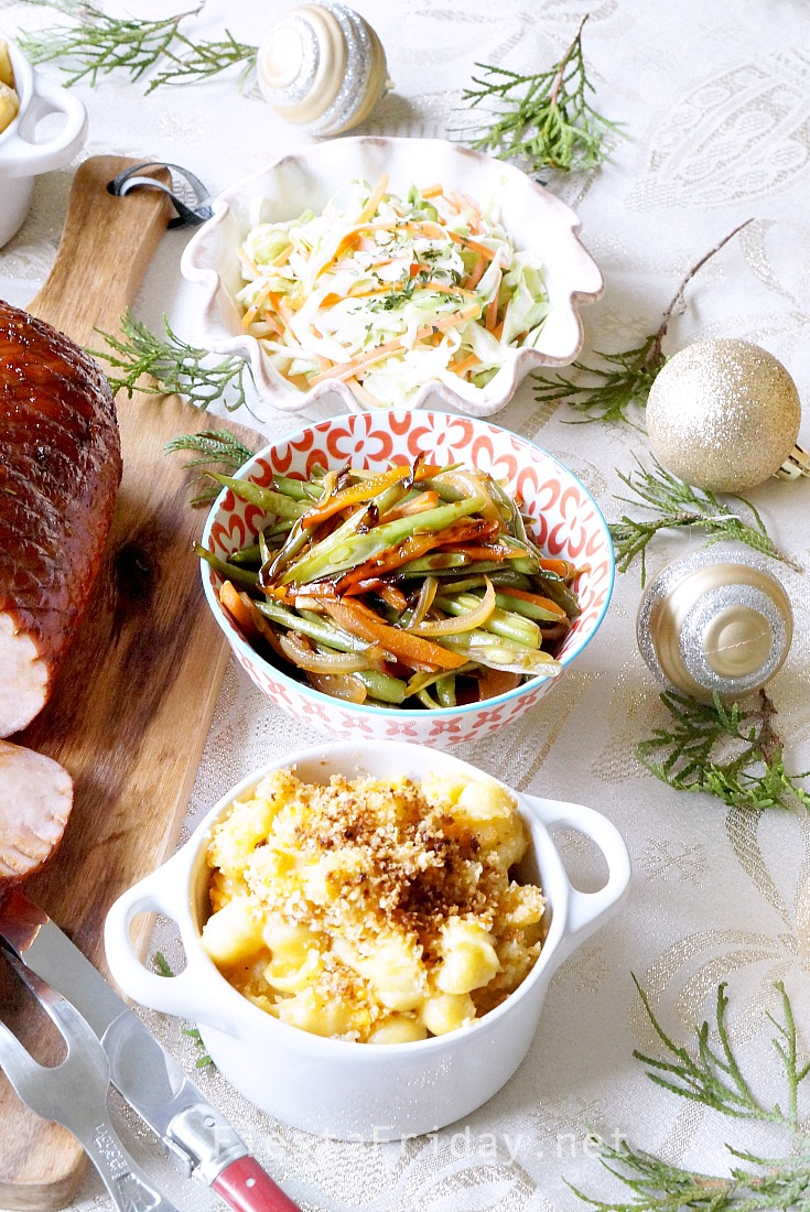 side dishes ideas for your holiday dinner | fiestafriday.net #macncheese #coleslaw #stirfried #vegetables