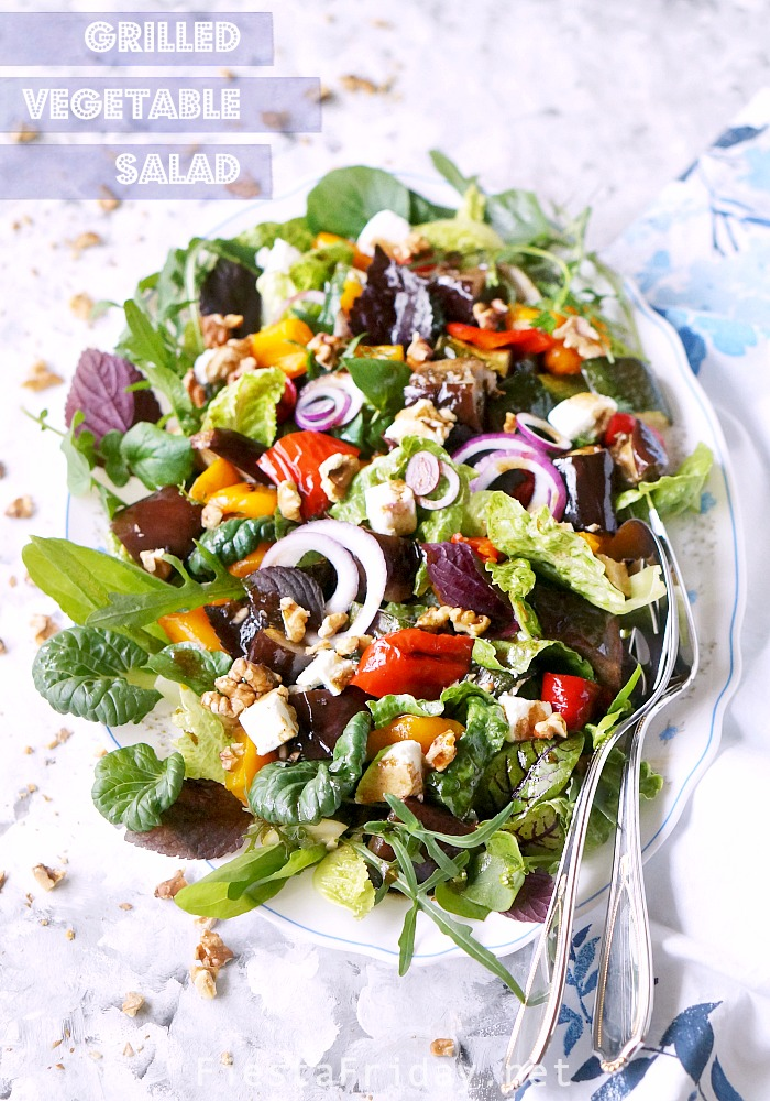 Grilled Vegetable Salad with Sweet Balsamic Dressing. Serve it warm or cold, as a side or entrée with grilled chicken. It's a family favorite! #fiestafriday #cleaneating #healthy #recipe #lowcarb #mediterraneandiet #vegetables #grilling