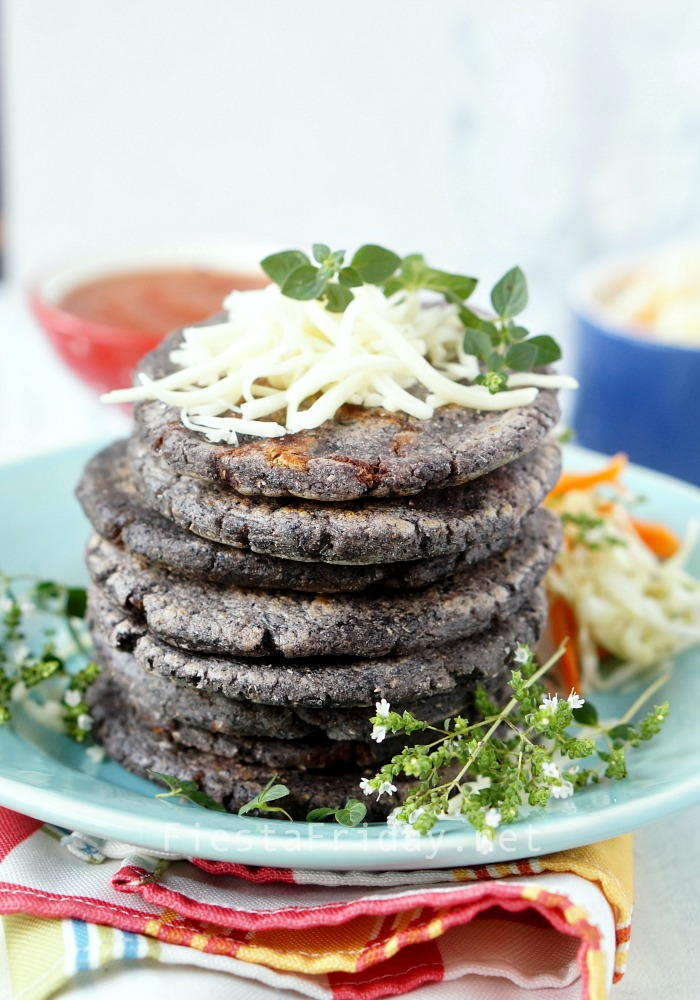 Blue Corn Pupusa | FiestaFriday.net