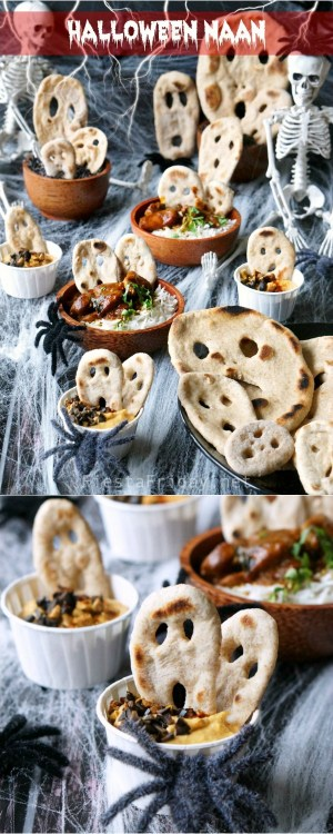 Halloween Naan | The fluffy and bubbly, crisp and chewy Indian Naan is made even more enticing and fun to eat by giving it a Halloween twist. Your kids will love this idea! #halloween #naan #healthyfood #wholewheat #Indian