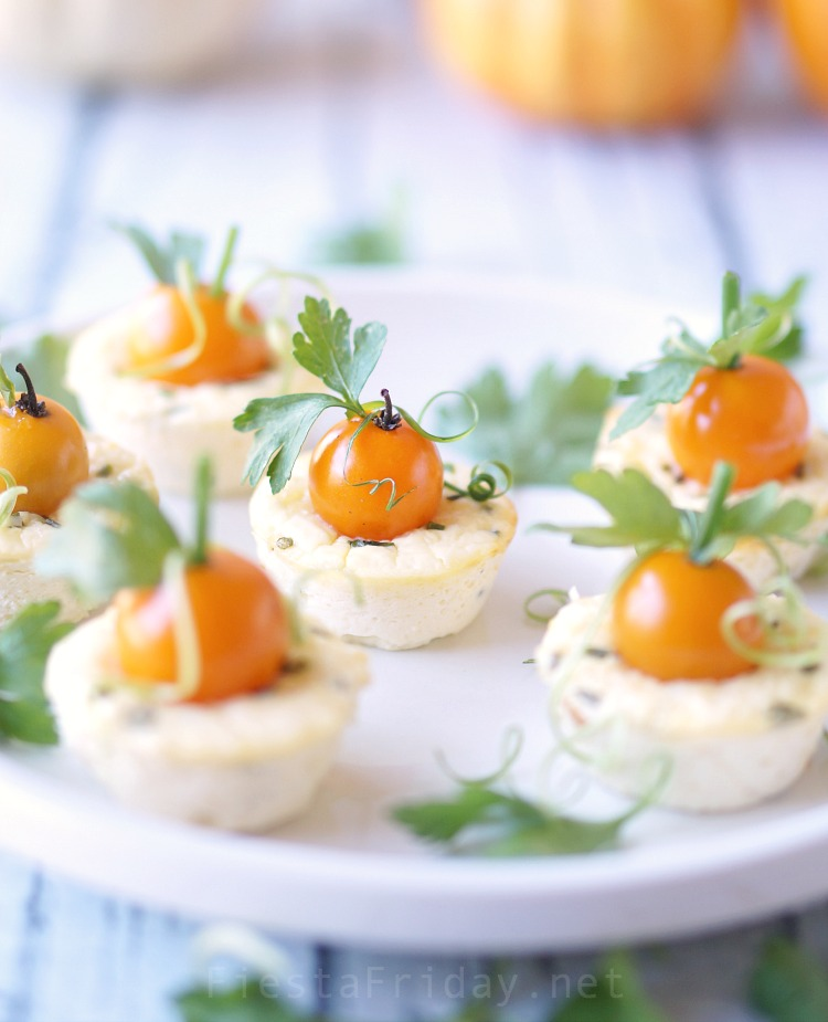 Thanksgiving Mini Savory Cheesecake Appetizer | FiestaFriday.net #thanksgiving #appetizer #cheesecake #savory #ricotta #tomatoes #vegetarian