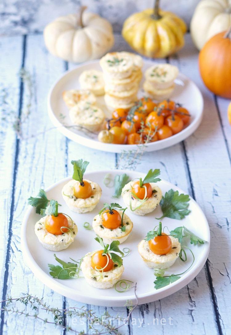 Thanksgiving Mini Savory Cheesecake Appetizer | FiestaFriday.net #thanksgiving #appetizer #cheesecake #savory #ricotta #tomatoes #vegetarian
