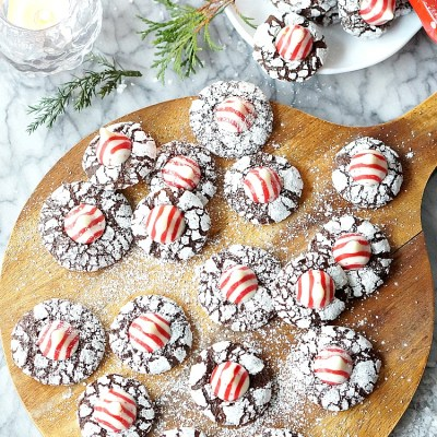 Candy Cane Kiss Chocolate Crinkle Cookies