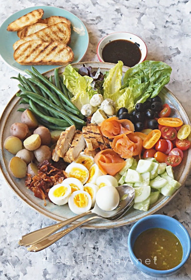 Cobb or Nicoise Salad Platter | FiestaFriday.net