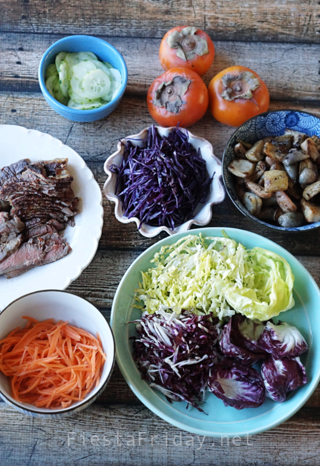 Making left-over steak salad | FiestaFriday.net