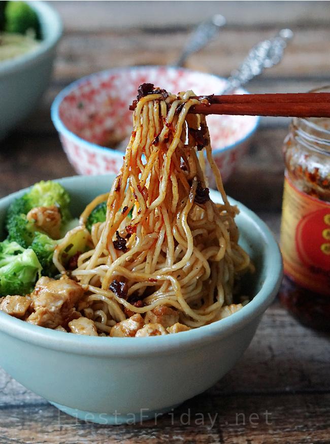 Homemade Chinese Noodles with Lao Gan Ma Chili Crisp Sauce | FiestaFriday.net