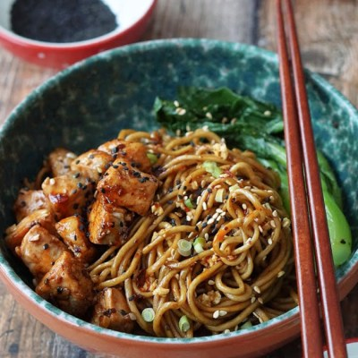 Soy Sauce Garlic Butter Noodles with Salmon