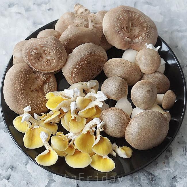 Trumpet Oyster, Golden Oyster, and Shiitake Mushrooms | FiestaFriday.net