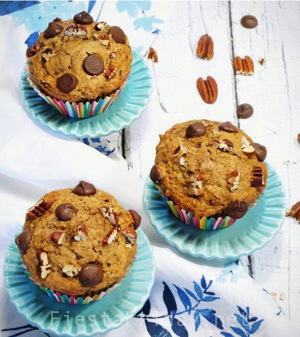 Chocolate Espresso Banana Nut Muffins | FiestaFriday.net