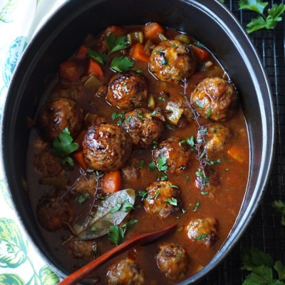 Stuffed Meatballs in Guinness Gravy