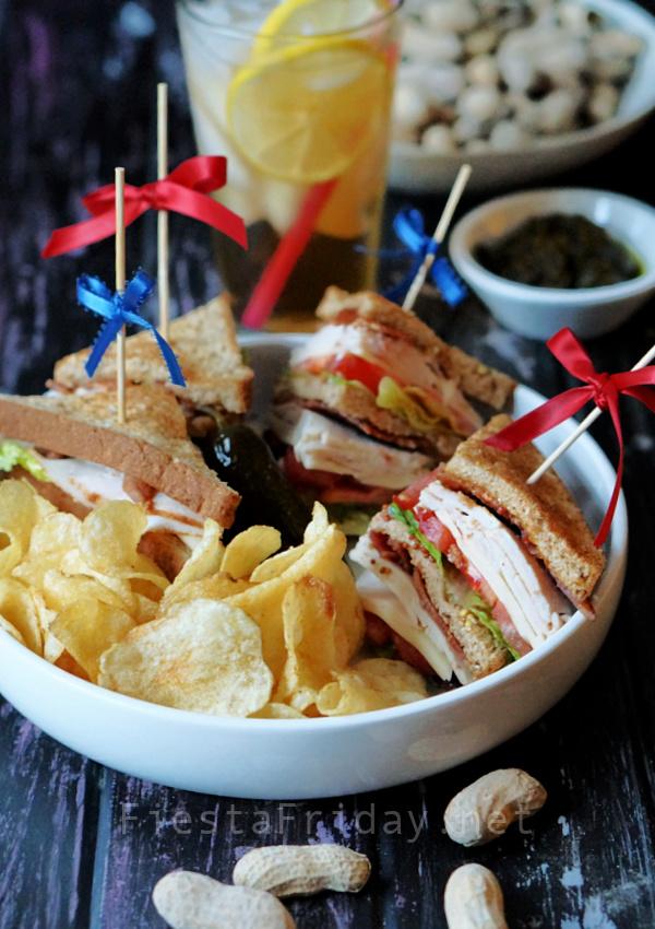 Turkey Club Sandwich   FiestaFriday.net