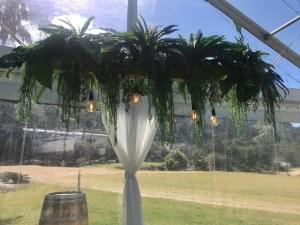 Hanging Greenery with Antigue Bulbs