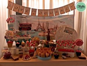 Candy Bar o mesa dulce temática de viajes