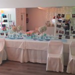 Decoración baby shower arco iris