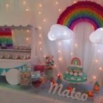 Mesa dulce o candy bar arco iris Baby Shower