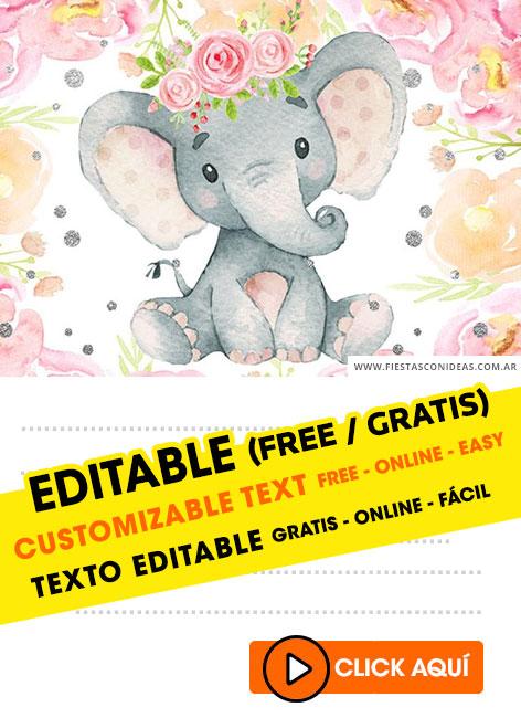 Invitaciones De Elefantes : invitaciones, elefantes, INVITACIONES, ELEFANTITO, SHOWER, Gratis, Editar,, Imprimir, Enviar, Whatsapp, Invitaciones, Editables