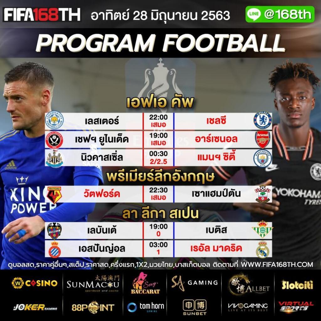 ราคาบอล FIFA55 วันนี้ 28 มิถุนายน 2563