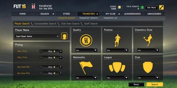 FIFA15 web uygulaması