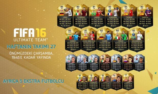 FIFA 16 Ultimate Team - Haftanın Takımı 27