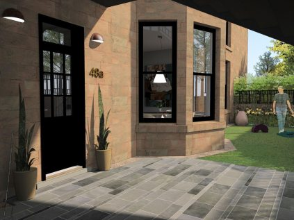 Exterior rendering, Flat refurbishment, Glasgow