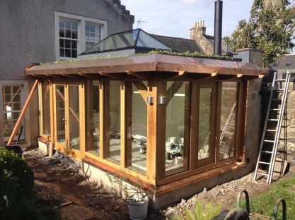 Oak frame extension with lantern window