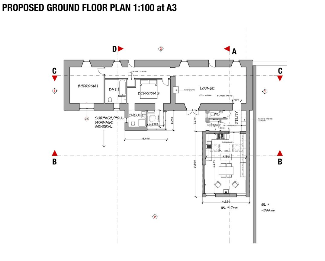 Ground floor plan kitchen extension