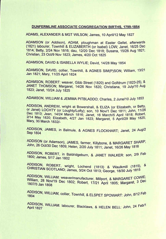 Publication 45, Dunfermline Associate Congregation, Births and Baptisms,1799-1854,Contents