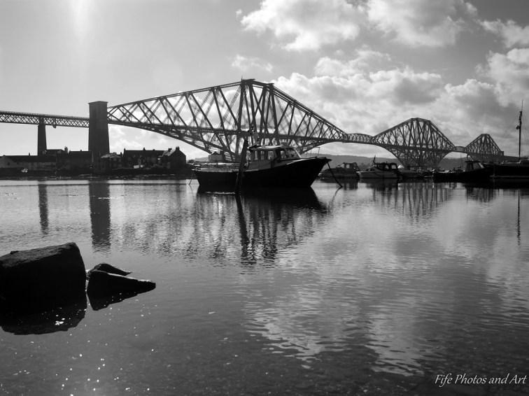 Reflections - Forth Rail Bridge and boat - B&W version