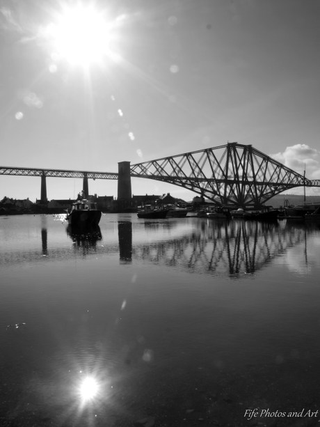Reflections - Forth Rail Bridge and early morning sun