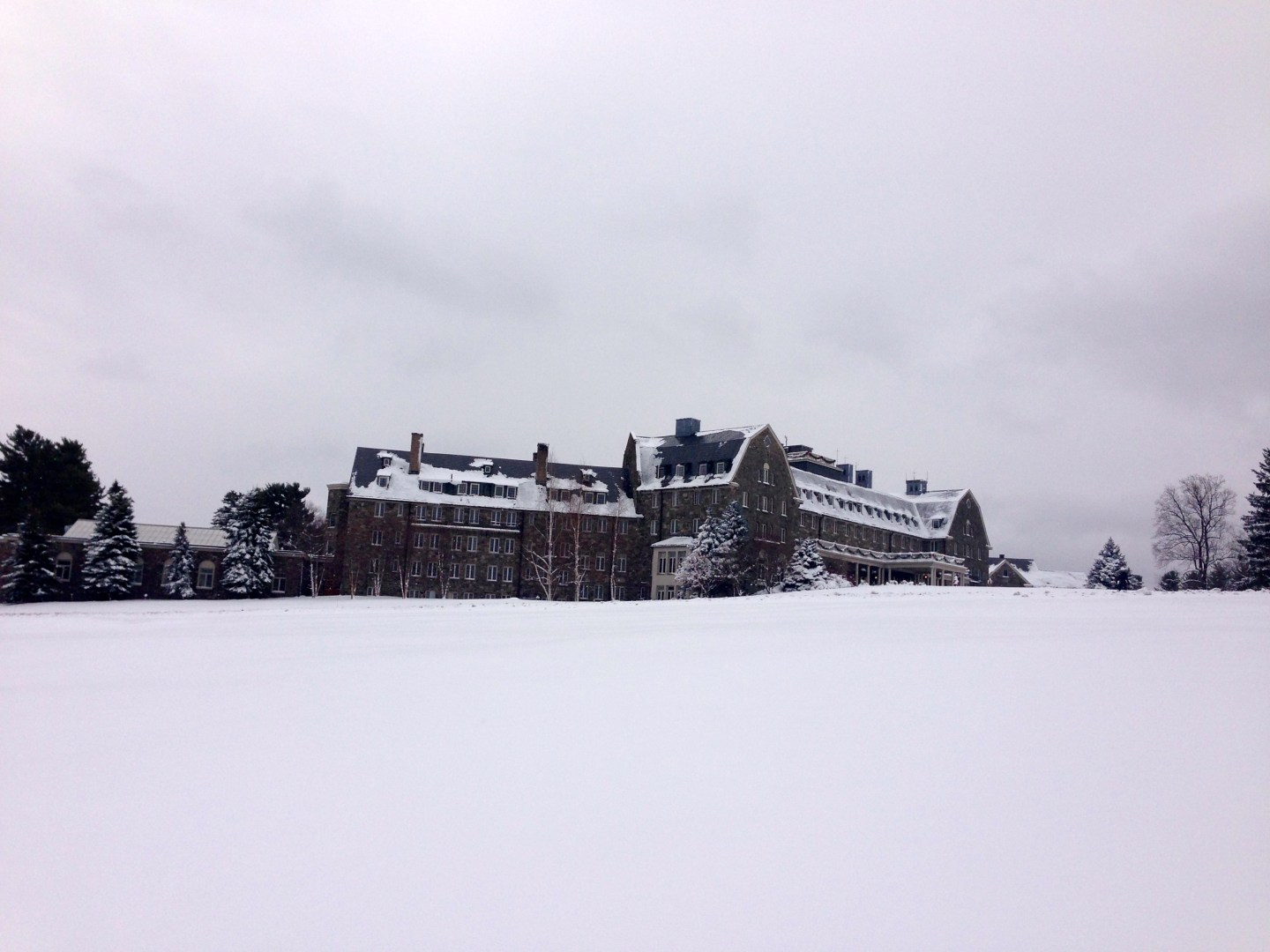 View of Skytop Lodge in the winter in Pennsylvania