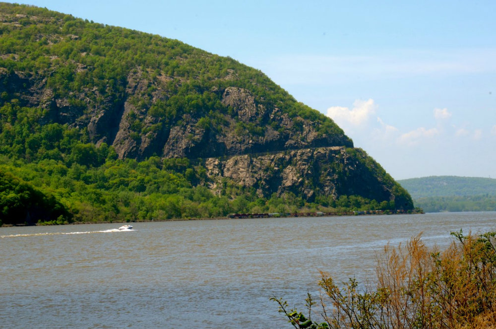 View of the Hudson River and boats from Cold Spring, NY.