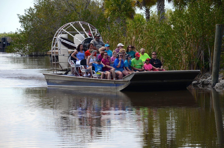 Enjoying an airboat ride at Wooten's in Naples Florida.