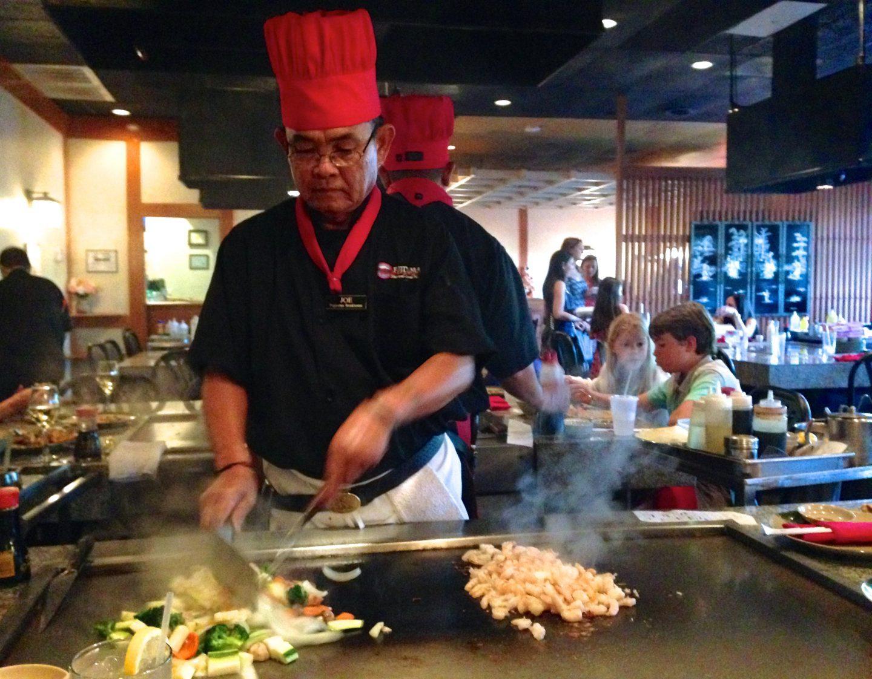 Eating Hibachi at Fujiyama in naples, Florida.