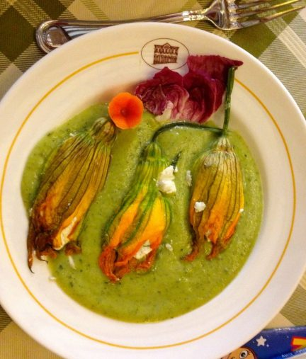 Delicious squash blossoms for lunch in Cortona, Tuscany.