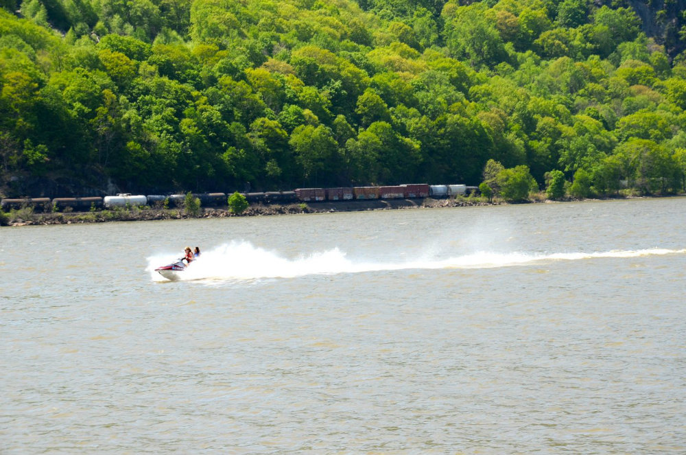 Watching the jet ski in Cold Spring, NY.