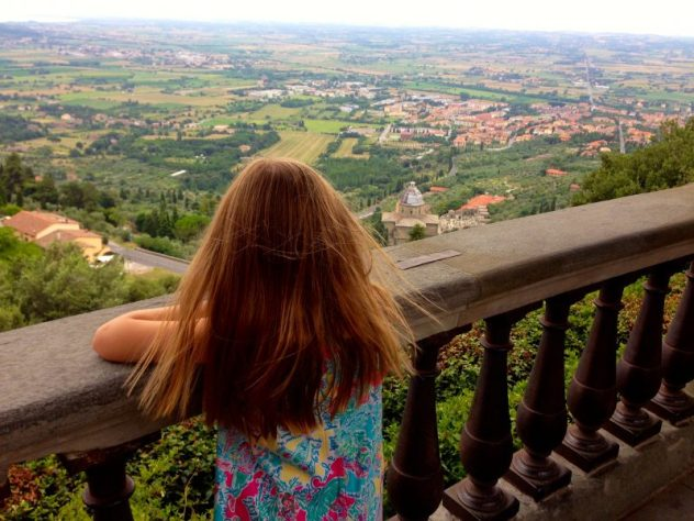 Looking out on the countryside from the hilltop in Cortona, Tuscany.