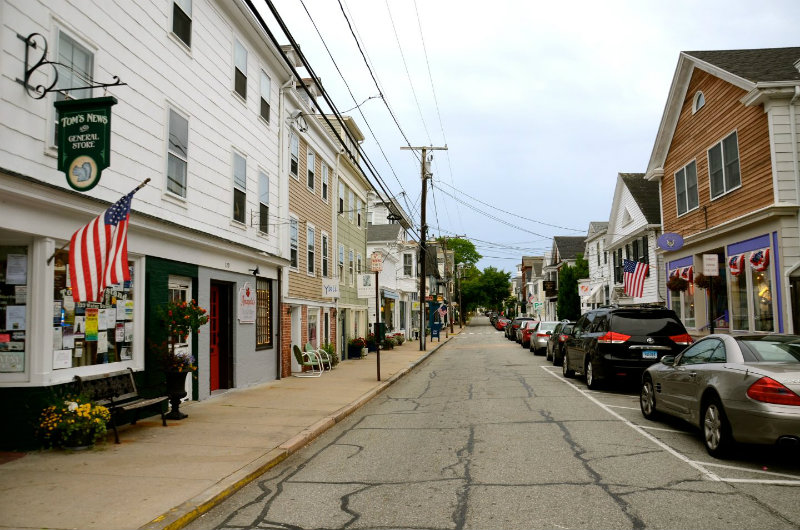 Water street in Stonington, Connecticut is full of good restaurants and shops.