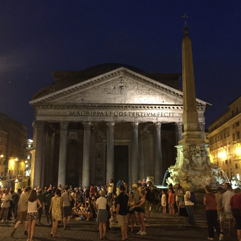 Pantheon in Rome at night.