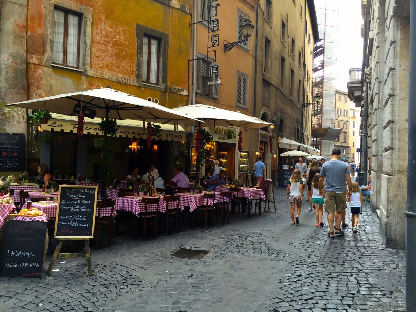 Strolling along the cobble stone streets in Rome.