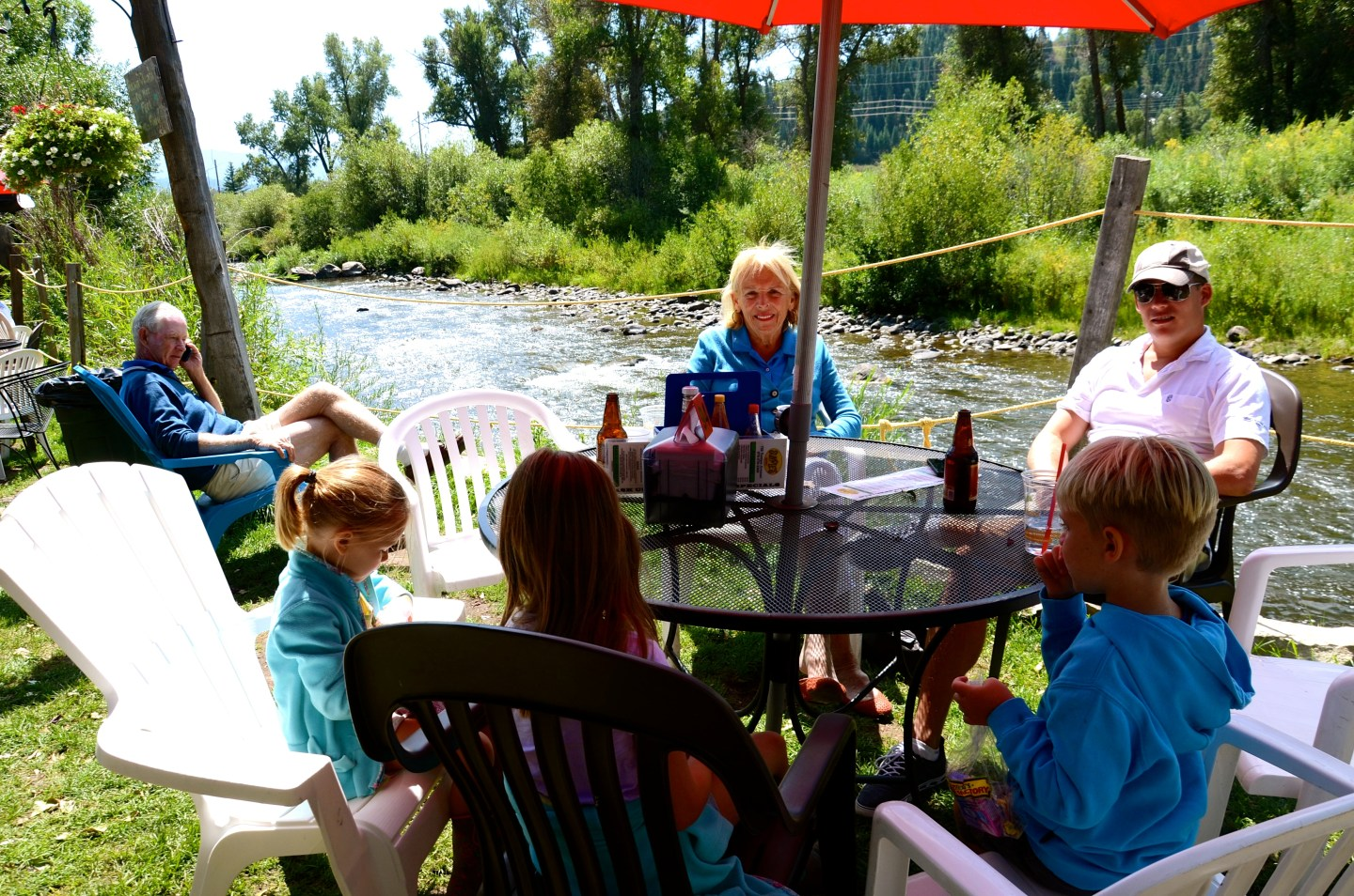 Lunch on the Yampa River in Steamboat Springs, CO.