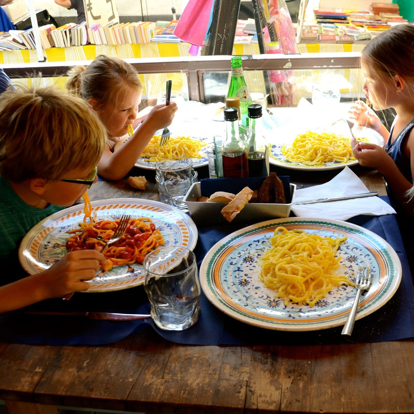 Chowing down on spaghetti in Florence.