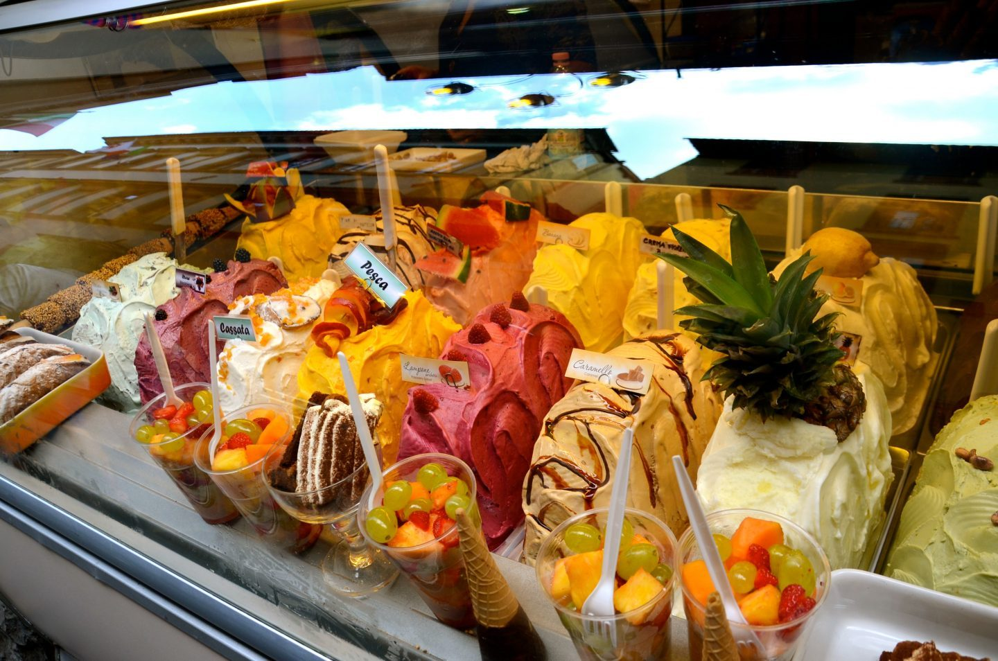 Different colors of gelato in Florence.