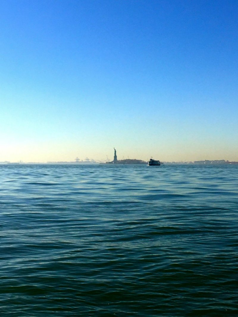 View of the Statue of Liberty in Battery Park, New York City.