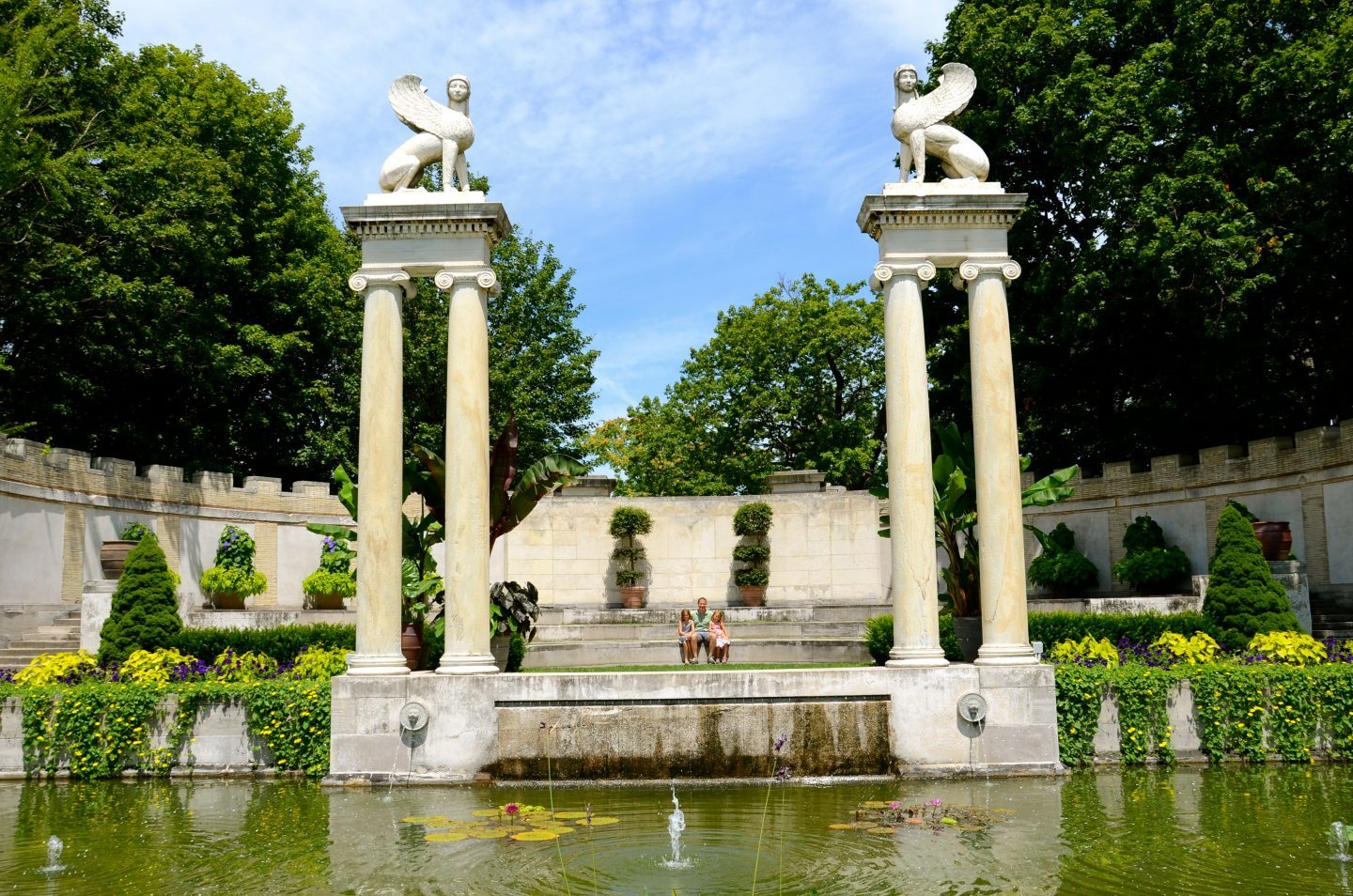 Taking a break at the exquisite Untermyer Park and Gardens.