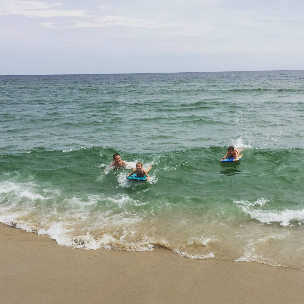 Boogie boarding at the beach in Nantucket.